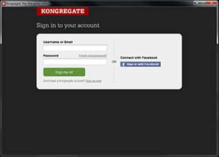 Kongregate native client sign-in screen
